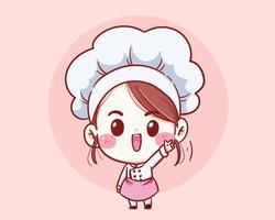 schattige chef-kok meisje lachend cartoon vector kunst illustratie.