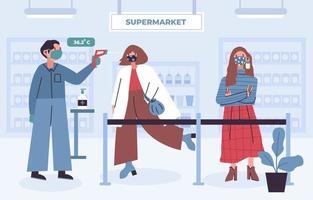 nieuw normaal protocol bij supermarkt