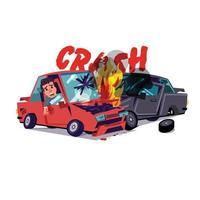 auto-ongeluk met vuur vector