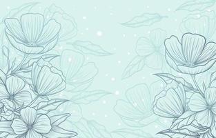 mooie hand getekend bloemen met blauwe achtergrond vector
