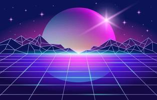 retro-futurismestijl met paarse ruimteachtergrond vector