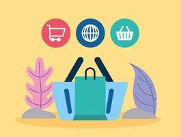 social media marketing met winkelmandje vector