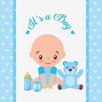 babydouche kaart met schattige kleine jongen vector