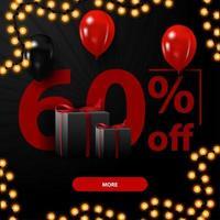zwarte vrijdagverkoop, tot 60 korting, kortingsbanner met grote aantallen, geschenken en ballonnen vector