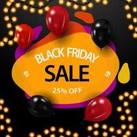 Black Friday-uitverkoop, tot 25 korting, creatieve gele kortingsbon met dynamische vloeibare vormen vector