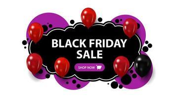 zwarte vrijdagverkoop, creatieve zwarte en paarse banner in graffitistijl. sjabloon met bubbels, knop en ballonnen vector