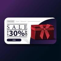verkoop, tot 30 korting, moderne witte en paarse banner met geschenkdoos