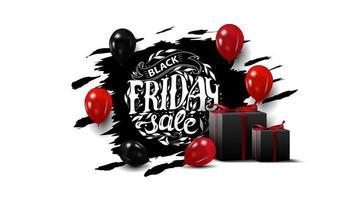 zwarte vrijdagverkoop, creatieve zwarte banner met prachtige cirkelbelettering, ballonnen en geschenken. zwarte sjabloon geïsoleerd op een witte achtergrond voor uw kunsten. vector