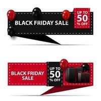 zwarte vrijdagverkoop, tot 50 korting, zwarte en rode horizontale kortingsbanners geïsoleerd op een witte achtergrond voor uw kunst vector