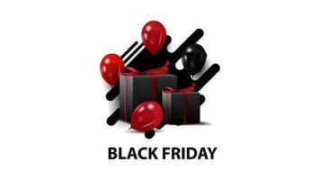 zwarte vrijdag, creatieve zwarte sjabloon in minimalistische moderne stijl met ballonnen en geschenken. zwarte sjabloon geïsoleerd op een witte achtergrond voor uw kunsten. vector