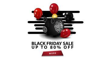 zwarte vrijdagverkoop, tot 80 korting, creatieve zwarte sjabloon in minimalistische moderne stijl met spaarvarken en ballonnen. vector