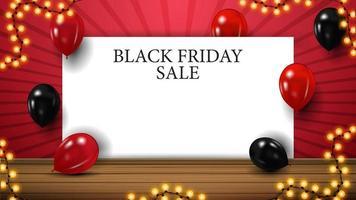 zwarte vrijdagverkoop, horizontale rode sjabloon voor uw kunsten met exemplaarruimte. sjabloon met wit vel papier voor uw kunsten vector