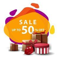 verkoop, tot 50 korting, kleurrijke kortingsbanner in lavalampstijl met geschenken vector