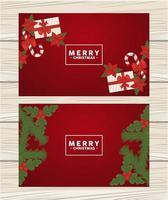vrolijk kerstfeest belettering in vierkante kaders met geschenken en bladeren vector