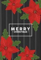 vrolijk kerstfeest belettering in vierkant frame met bloemen op houten achtergrond vector