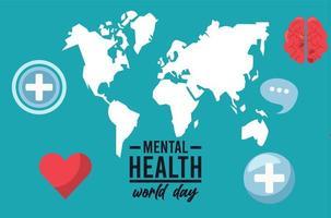 Werelddag voor geestelijke gezondheid met kaarten van de aarde en hart vector
