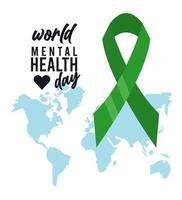 Werelddag voor geestelijke gezondheid met kaarten van de aarde en lint vector