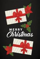 vrolijk kerstfeest belettering met geschenken en bladeren op zwarte achtergrond