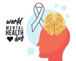 Werelddag voor geestelijke gezondheid campagne met hersenprofiel en lint vector