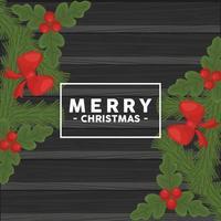 vrolijk kerstfeest belettering in vierkant frame met strikken vector