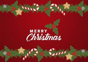 vrolijk kerstfeest belettering met stokken en sterren frame vector