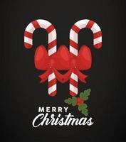 vrolijk kerstfeest belettering met stokken en strikken vector