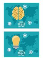 Werelddag voor geestelijke gezondheid campagne met hersenen en lamp in aardkaarten vector