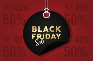 zwarte vrijdag verkoop banner met ronde tag hangen vector