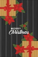 vrolijk kerstfeest belettering met geschenken en bloemen vector