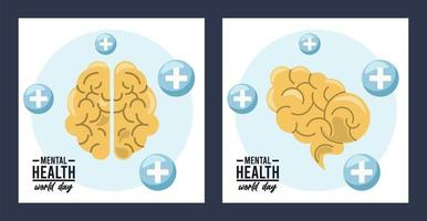 Werelddag voor geestelijke gezondheid campagne met hersenen vector