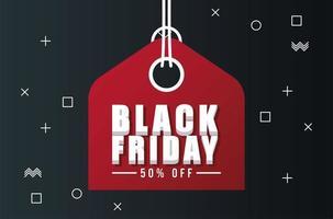 zwarte vrijdag verkoop banner met rode tag hangen vector