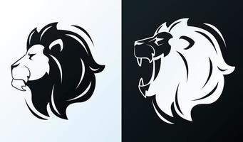 hoofden van leeuwen in profiel, zwart-wit pictogrammen vector