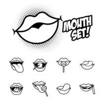 bundel van negen pop-art monden lijnstijl iconen vector