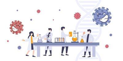2019-ncov coronavirus groepsonderzoek. wetenschapper op zoek naar antivirus en medicatie. vector