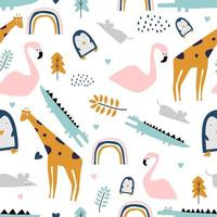 safari naadloos patroon met flamingo, krokodil, giraf, rat en pinguïn. vector