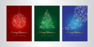 Merry Christmas wenskaart vector sjabloon set