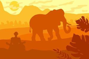 indisch tropisch landschap met olifant en monnik vector