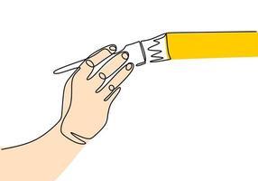 persoon schilderen met penseel. een doorlopende lijntekening vector