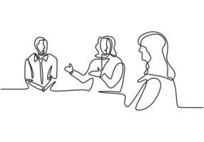 doorlopende lijntekening van kantoorpersoneel op zakelijke bijeenkomst. teamwerk met een groep man en vrouw.