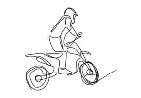 een enkele lijntekening van jonge motorcrossrijder beklimt grondheuvel op racecircuit. extreme sport concept. vector