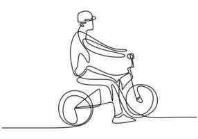 continu een lijntekening man op een fiets. sport man doet oefening om gezond te zijn. vector