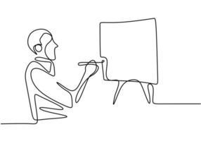 een man die een kunstwerk op canvas schildert. schilder kunstenaar. doorlopende enkele lijn kunst van schilder. vector