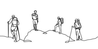 groep wandelaars. een lijntekening van mensen die op berg wandelen. continue hand getekend vectorillustratie vector