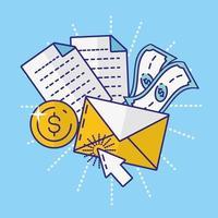 geld, financiën en technologieconcept met enveloppictogram vector