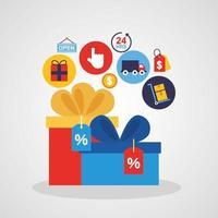 geschenkdoos met pictogrammen voor online winkeltechnologie vector