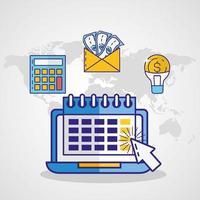 geld, financiën en technologieconcept met laptoppictogram vector