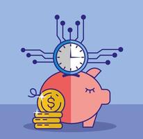 geld, financiën en technologieconcept met spaarvarken vector