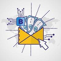geld, financiën en technologieconcept met enveloppictogram