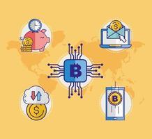 geld, financiën en technologie icon set vector