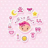 babydouche kaart met schattige babymeisje en pictogrammen vector